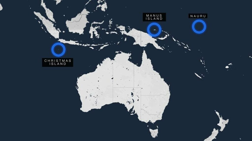 A map of Australia in white on a blue background, showing the country in relation to Christmas Island, Manus Island, PNG and Nauru.