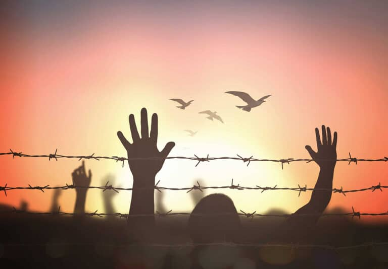 Hands in the air behind barbed wire